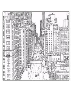 Free coloring page coloring-adult-new-york-1st-avenue-and-east-60th-street-in-manhattan-source-steve-mcdonald. Drawing of a New York street (Source : Steve Mc Donald)