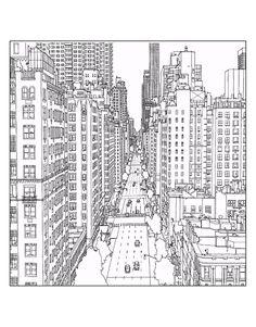 Galerie de coloriages gratuits coloriage-adulte-new-york-1st-avenue-and-east-60th-street-in-manhattan-source-steve-mcdonald. Un dessin d'une rue de New York (Source : Steve Mc Donald)