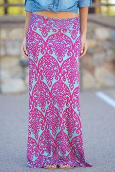 Damask Maxi Skirt - Fuchsia/Mint from Closet Candy Boutique