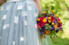 Colourful bridal bouquet Craspedia, Ranunculus, Succulents and more