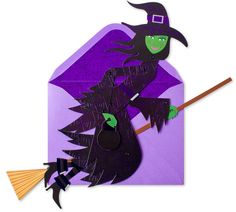 Articulated Witch w/ Broom Halloween card by Papyrus. Available at Memento Gift Shop, Palm Springs. 760-325-1963