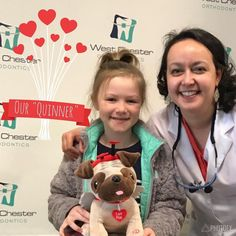 """Congratulations Quin! She was our Valentine's contest """"quinner"""" and got to take home the love pug stuffed animal and some chocolates to share with the ones she loves  Enjoy- and don't forget to brush after those treats!  #smilewithus"""