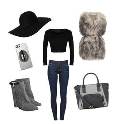 """Untitled #10"" by m-dzeny ❤ liked on Polyvore featuring Frame Denim, PINGHE, Jérôme Dreyfuss, Lipsy and Monki"