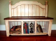 Entry Storage Bench Repurposed Head board by MyAppleTreeAndMe, $150.00