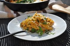 Pumpkin Pasta. Ingredients: Angel hair Pasta 1 package, Unsweetened pumpkin puree: 1 cup, Mascarpone cream cheese: 1/2 cup, Almond milk or regular milk: 1/2 cup, Bacon: 5-6 slices; diced, Fresh eggs: 2 to 4 no/ personal preferences, Yellow onion: 1 med size/ sliced, Jalapeno peppers: 2 no/ seeded and diced, Parmesan cheese: 1/2 cup/ freshly grated, Flat leaf parsley: 3 tablespoon/ finely diced, Nutmeg: 1/2 teaspoon/ ground, Salt & Pepper.