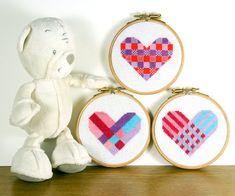Perfect for beginners - 3 Modern heart cross stitch geometric designs by at birdsaystweet.ets... cross-stitch heart hearts teddy valentine stitch craft xstitch crossstitcher embroidery etsygifts etsy broderie pointdecroix puntodecruz puntocroce kreuzstich kruisstee