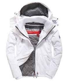 Shop for men's jackets at Superdry. Choose from leather jackets, coats, bomber jackets, parkas and sports jackets with free delivery and returns. Men's Coats And Jackets, Winter Jackets, White Jacket Outfit, Womens Snowboard Jacket, Mens Outdoor Jackets, Superdry Jackets, Snowboarding Outfit, Mens Fashion Wear, Moda Casual