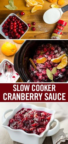 Everything you need to create this sweet-tart holiday side dish goes into one pot – cranberries, an orange and sugar. Add a cinnamon stick and bay leaves, and let it simmer. Big on convenience and flavor, this slow cooker cranberry sauce recipe will have Thanksgiving Side Dishes, Thanksgiving Crafts, Thanksgiving Cranberry Sauce, Healthy Thanksgiving Recipes, Thanksgiving 2016, Slow Cooking, Fall Recipes, Holiday Recipes, Holiday Meals