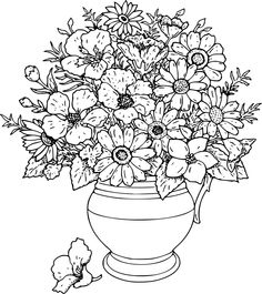 vase of wild flowershi coloring page for kids and adults from natural world coloring pages flowers coloring pages