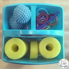 Fidget Bin! 5 tools to use with students who fidget! Love these ideas!