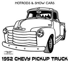 Line Illustrations - Hot Rods & Show Cars by James Jones, via Behance Chevy Pickup Trucks, Chevy Pickups, Chevrolet Trucks, Vintage Trucks, Old Trucks, Truck Coloring Pages, Coloring Book, Preppy Car, Line Illustration