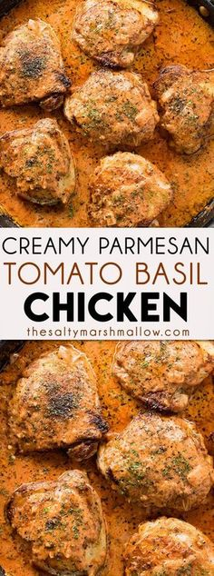 Parmesan Tomato Basil Creamy Chicken is a mouthwatering, one pan, creamy chicken recipe that is ready for dinner in 30 minutes or less! Chicken thighs or breasts are seared and simmered in a creamy tomato basil and parmesan sauce making for an easy dinner the whole family will rave about and it is amazing served with pasta or rice!