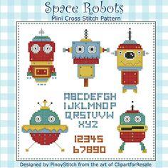 Space Robots Mini Sampler Cross Stitch PDF от PinoyStitch на Etsy, $5.00