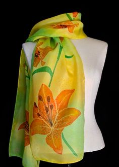 Silk scarf hand painted lily flowers. Listed by FantasticPheasant, $35.00