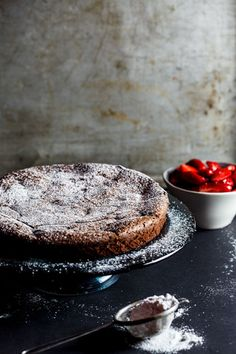 Flourless Chocolate torte with macerated strawberries {Woolworths/Masterchef} - Simply Delicious Sweet Recipes, Cake Recipes, Dessert Recipes, Gluten Free Desserts, Just Desserts, Flourless Chocolate Torte, Naked Cakes, Let Them Eat Cake, Cookies