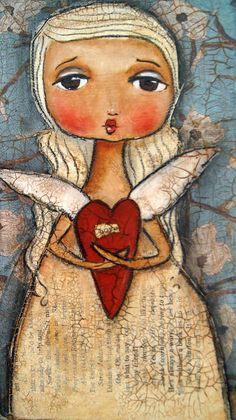 Angel Canvas Print Art by Linda Armstrong .jpg Be still my foolish heart Mixed Media - Be still my foolish heart Fine Art Print Angel Art, Heart Art, Whimsical Art, Medium Art, Framed Wall Art, Mixed Media Art, Altered Art, Collage Art, Folk Art