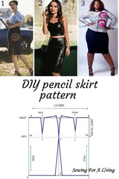 to draft a pencil skirt A step-by-step tutorial on how to draft a pencil skirt pattern.A step-by-step tutorial on how to draft a pencil skirt pattern. Pencil Skirt Work, Pencil Skirt Casual, High Waisted Pencil Skirt, Pencil Skirts, Pencil Dresses, Skirt Pattern Free, Bodice Pattern, Skirt Patterns Sewing, Pencil Skirt Patterns