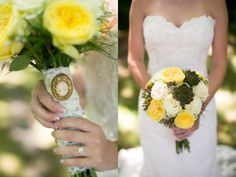 Beautiful DIY yellow bouquet!   http://www.britfrayphotography.com   http://www.thebridelink.com/blog/2013/08/09/classic-wedding-by-brit-fray-photography/