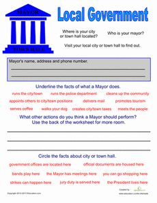 Local Government for Kids Worksheet