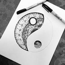 idea - ying yang for zentangle practice I use Sharpies and I love the depth and color. I think that I could Zentangle all day and never grow tired! Et Tattoo, Sharpie Art, Black Sharpie, Sharpies, Sharpie Drawings, Sharpie Markers, Zentangle Patterns, Zentangles, Zentangle Drawings
