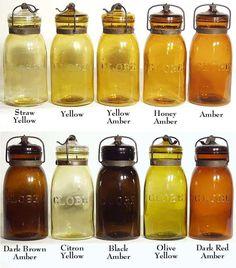 10 Globes Shades Of Amber These are beautiful! Ball Canning Jars, Ball Mason Jars, Mason Jar Gifts, Mason Jar Wine Glass, Mason Jar Diy, Amber Glass Jars, Antique Glass Bottles, Bottles And Jars, Antique Glassware