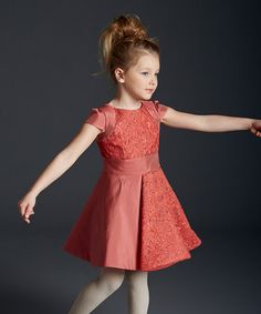 Love this Coral Floral A-Line Dress - Girls by ValMax on #zulily! #zulilyfinds