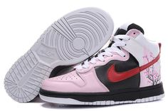 Disoucnt Nike Dunk SB High Top Sneakers For Women Plum Blossom Pink Black Red