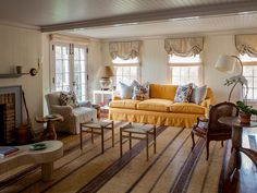 vivid yellow sofa in neutral living room ~ David Netto design Attic Living Rooms, Cottage Living Rooms, Shabby Chic Living Room, Elegant Living Room, Cottage Interiors, Living Room Grey, Living Room Decor, Living Spaces, White Cabin