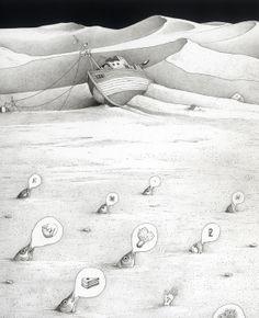 Ilustración de Einar Turkowski para su obra Cuando las casas regresaron flotando. Artist Life, Book Illustration, Fairy Tales, Black And White, Artists, Image, Beautiful, Pisces, Fairy Tale Illustrations