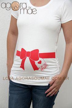 Camiseta Barriga para Presente - Agora sou mãe camisetas para grávidas