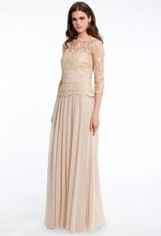 Lace and Chiffon Dress with V-Back   Camillelavie.com #neutral #dresses #wedding #MOB #longdresses #camillelavie