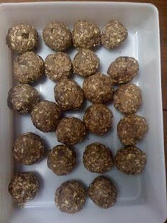 Oatmeal, Protein, and Peanut Butter Balls.  Must try for breakfast this week.