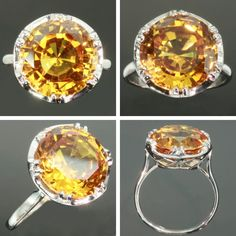 Citrine engagement ring platinum. .