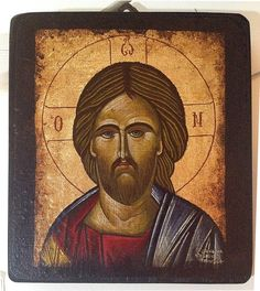 "Handmade Byzantine icon ""Jesus Christ"" gold background"