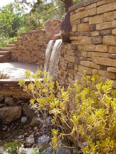 water feature in retaining wall