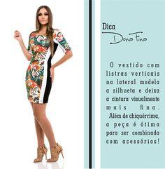 O vestido com listras laterais realiza o desejo de nove a cada dez mulheres: Parecer mais magra!  #donafina #euamodonafina