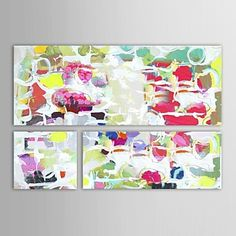 Hand Painted Oil Painting Abstract Celebration with Stretched Frame Set of 3 – USD $ 99.99