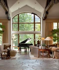 I will eventually have a piano that is currently at my parents house, so I want to keep that in mind when designing a space and leave room for that. Home Music Rooms, Music Studio Room, Beautiful Interior Design, Beautiful Interiors, Design A Space, House Design, Bungalows, Grand Piano Room, Feng Shui
