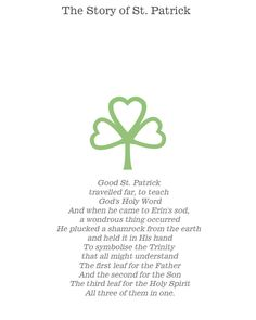 St. Patrick's Day Activity (to teach kids the true story behind the holiday...) (Shammrock= symbol of the Trinity)