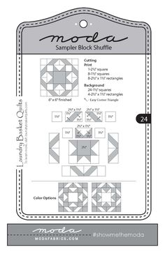 Moda Sampler Block Shuffle - Block #24 by Laundry Basket Quilts.