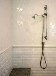 guest bathroom concept - Diamond Tile on top and subway tile on the bottom Upstairs Bathrooms, Laundry In Bathroom, Small Bathroom, Bathroom Ideas, Master Bathrooms, Bathroom Remodeling, Bathroom Faucets, Bathroom Wall, Bad Inspiration