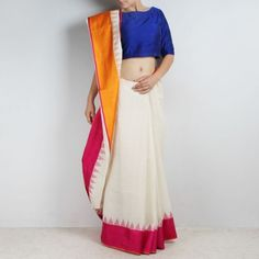 Ivory White Khadi Three Shuttle Saree with Temple Border