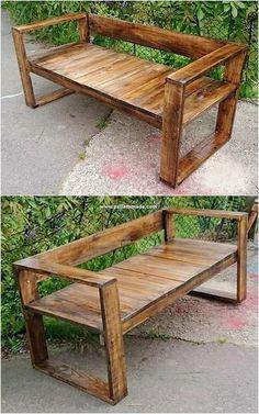 Diy Outdoor Furniture, Diy Pallet Furniture, Diy Pallet Projects, Pallet Ideas, Rustic Furniture, Wood Projects, Furniture Design, Pallet Garden Benches, Pallet Patio