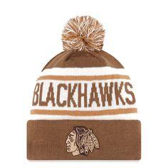 Chicago Blackhawks New Era Biggest Fan Redux Knit Hat With Pom - Brown - $18.39