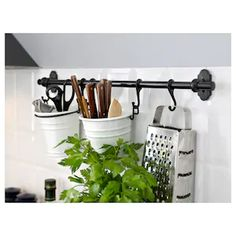 IKEA - FINTORP, Hook, black, Use the hooks to store your kitchenware on the wall and fit more into your cabinets and drawers. Can be hung on FINTORP rail. Can be hung on the FINTORP rail. Combines with other accessories in the FINTORP series. Kitchen Ikea, Kitchen Storage, Kitchen Decor, Bathroom Storage, Wall Storage, Storage Racks, Hanging Storage, Craft Storage, Kitchen Island