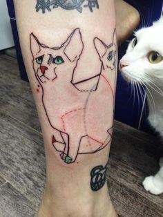 Cats tattoo #ribawerner #tattoo #tattoos #tattooed #strange #strangetattoo #tattooart #girlswithtattoos #artbruttattoo #tattooist #tattooing #colortattoo #rotary #rotarymachine #tattrx #tattrxartist #cat #cats #cattattoo