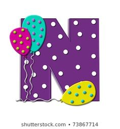 "N, in the alphabet set ""Balloon Spots"", is decorated with polka dotted balloons in multi-colors. Letter is purple with white polka dots - bu illüstrasyonu Shutterstock'ta satın alın ve başka görseller bulun. Polka Dot Balloons, Letter Balloons, Polka Dots, Alphabet, Letters And Numbers, Paper Dolls, Origami, Projects To Try, Royalty Free Stock Photos"