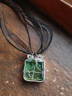Green Glass Square Goddess Spirals Necklace