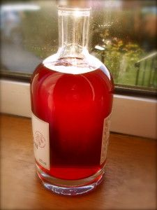 Home made raspberry gin in the bottle