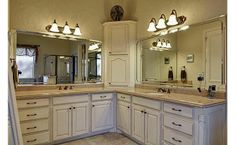 Simple, beautiful dual vanities with lots of storage! These are so ideal